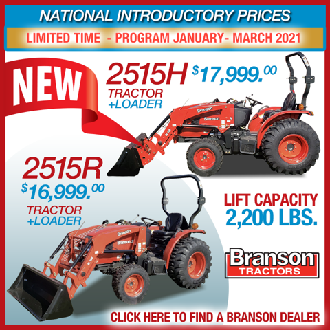 New, 2021, Branson Tractors, 2515R With Loader 4X4, Tractors