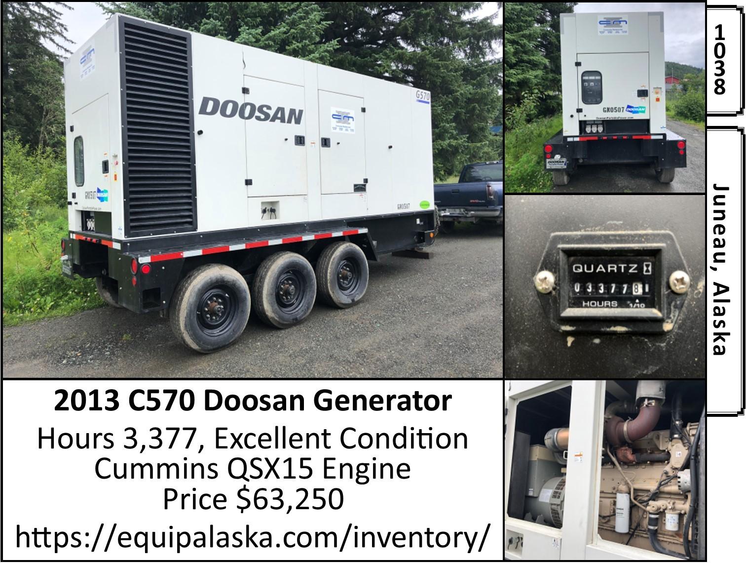 Used, 2014, Doosan Portable Power, G570WCU-2B-T2, Generators