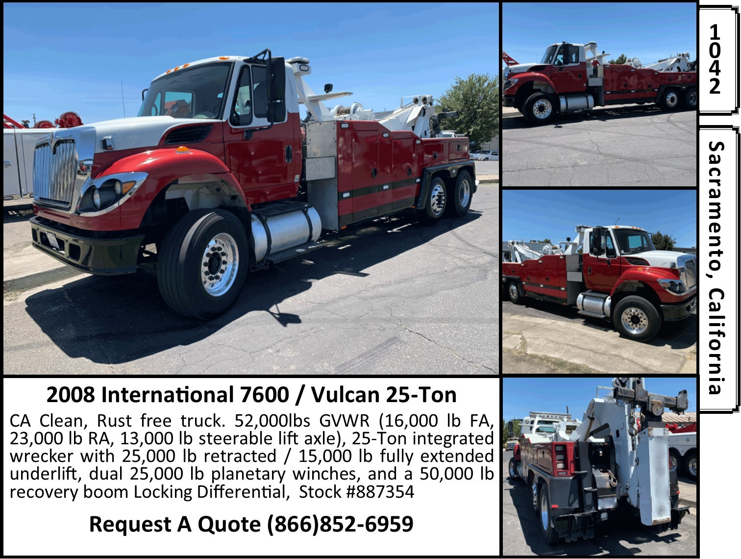 Used, 2008, International, 7600 / Vulcan 25T Wrecker, Tow Trucks