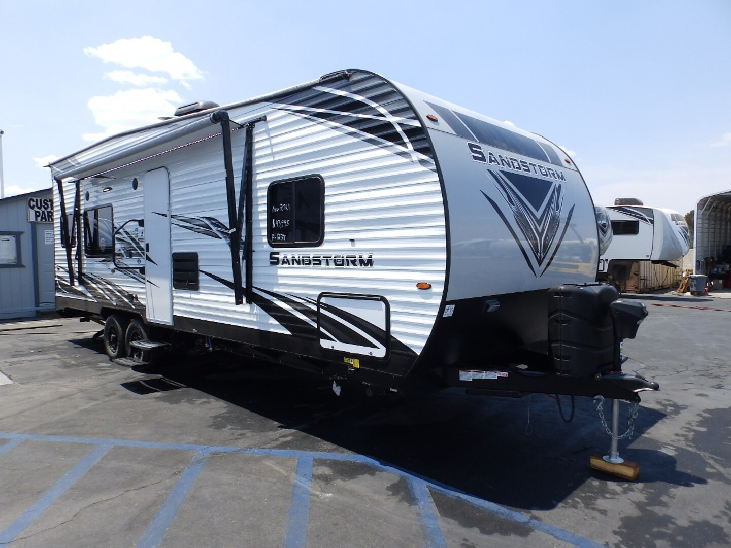 New, 2021, Forest River, SANDSTORM 251SLC, FRONT WALK AROUND QUEEN BED, REAR ELECTRIC DINETTE, CAPTAIN CHAIRS, 220 WATT SOLAR PANEL, ARCTIC PACKAGE, 4000 ONAN GENERATOR, Toy Haulers